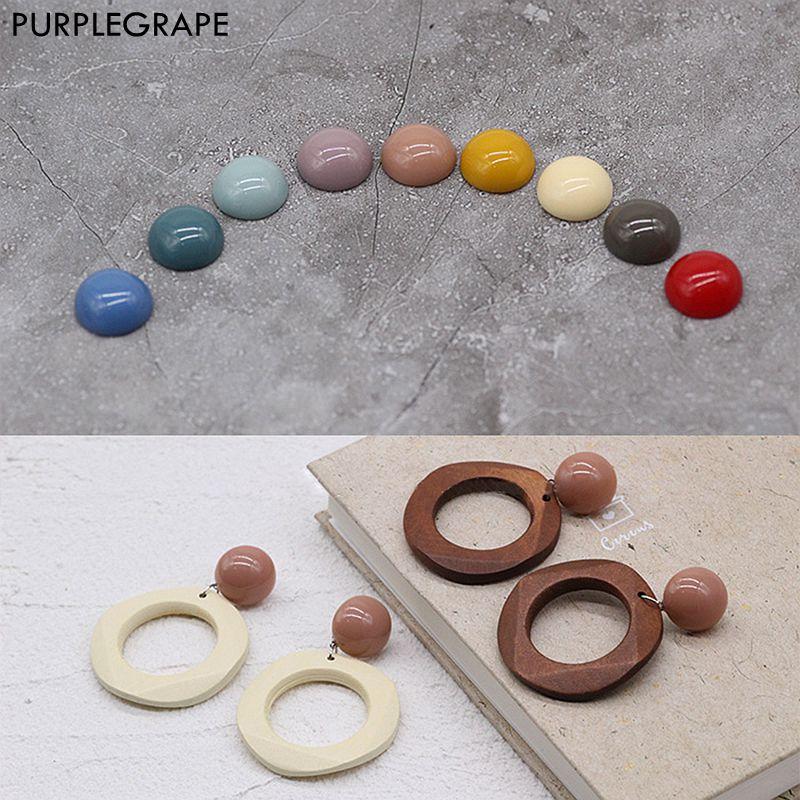 Semi-circular Resin DIY Earrings Accessories Jewelry Material Handmade Studs Round Flat Buckle 20pcs