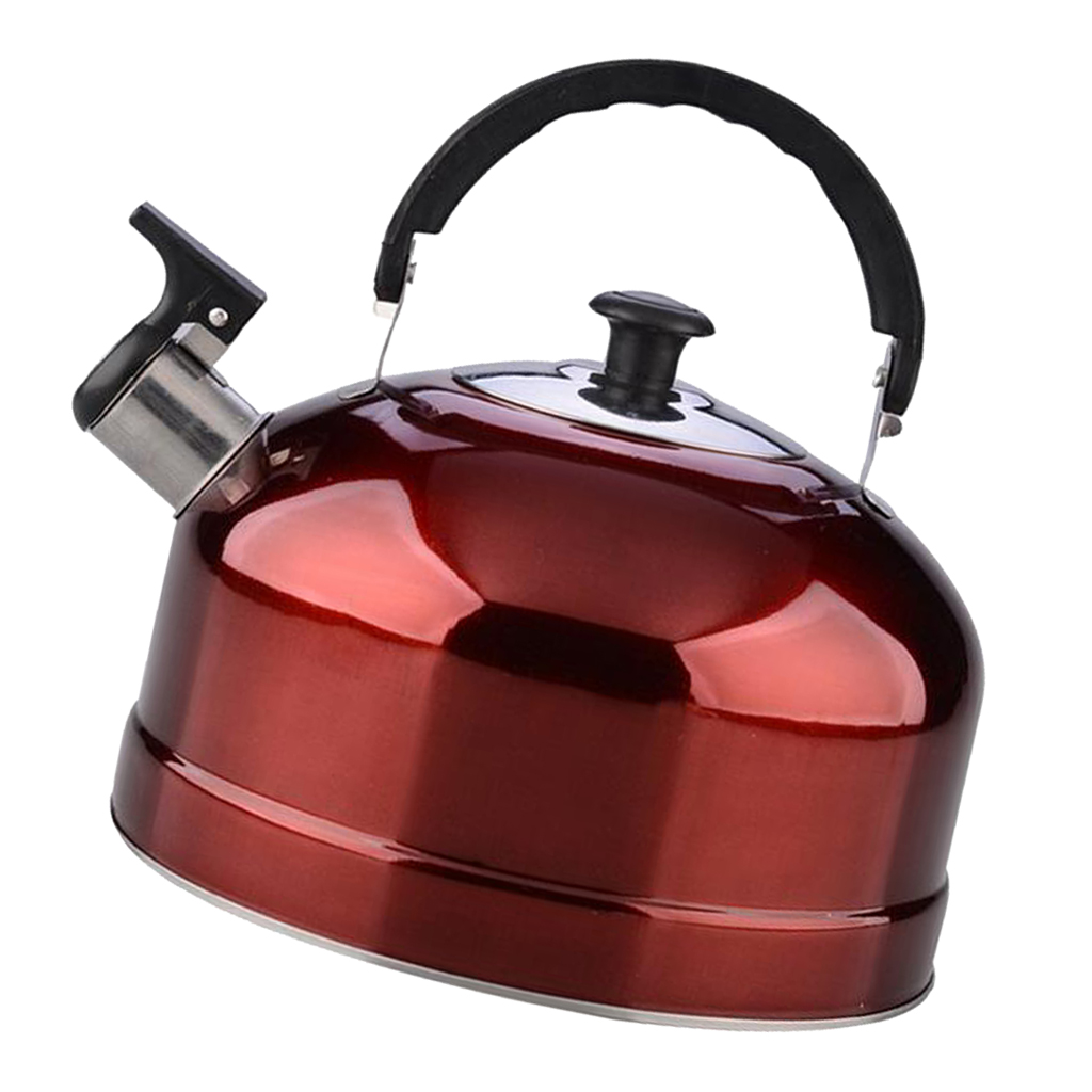 Whistling <font><b>Kettle</b></font> Stainless Steel Whistling for teapot <font><b>Kettle</b></font> Kitchen Tea Pot For home kitchen Outdoor Camping Tool -Red <font><b>4L</b></font> image