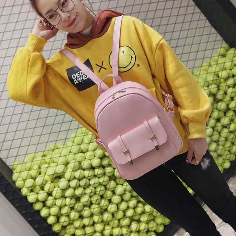 Dropshipping Mochila De Cuero PU para mujer bolsas escolares bonitas para adolescentes bolso de hombro negro para mujer mochila Set saco 2019