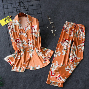 Image 3 - 2019 Spring Satin Pyjamas Women Pajamas Sets With Pants Flower Print Long Sleeve Silk Sleepwear Pijama Mujer Female Nightsuit