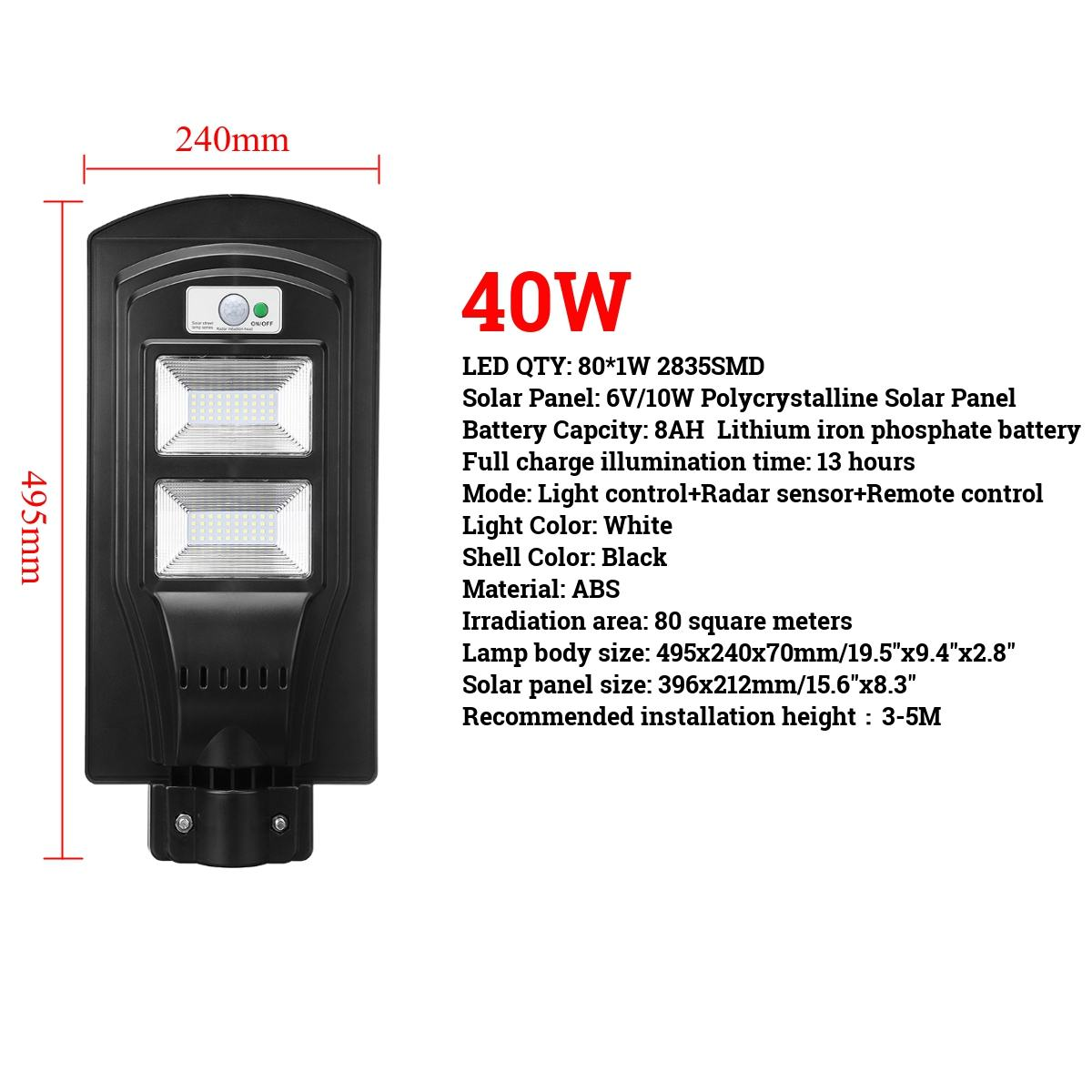 40/60/90 W LED lámpara de pared IP65 luz Solar de la calle Radar motion 2 en 1 constantemente brillante y inducción Sensor Solar de Control remoto