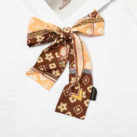 Chic Female Leopard Clover Silk Scarf Designer Scarf Women Luxury 2018 Head Bandage Flower Cow Print Collar Hijab Scarves