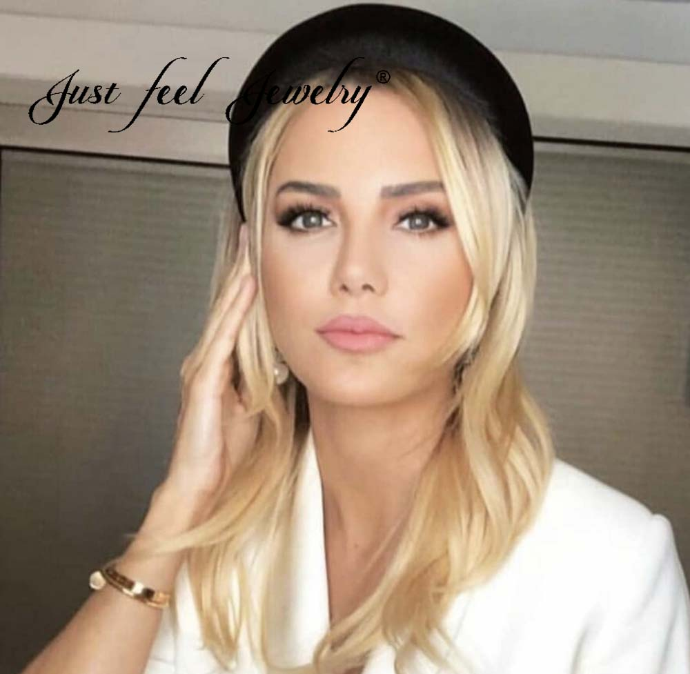 JUST FEEL Boho Fashion Velvet Thick Headbands For Women Head Band   Headwear   Wide Plastic Hairband hair Accessories Wedding gifts