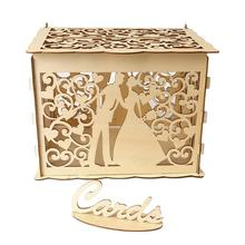 High Quality Wooden Wedding Supplies DIY Couple Deer Bird Flower Pattern Grid Business Card Box For Holiday Decoration