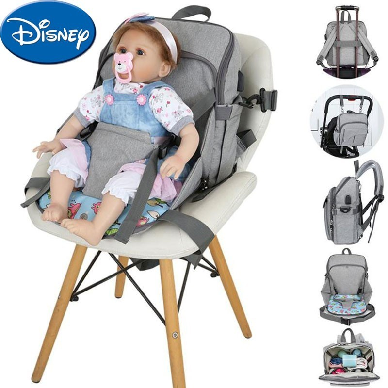 Disney Baby Diaper Bag And Chair 2 in1 With USB Interface Large Capacity Fashion Mummy Nappy Backpack Maternity Nursing BagDisney Baby Diaper Bag And Chair 2 in1 With USB Interface Large Capacity Fashion Mummy Nappy Backpack Maternity Nursing Bag