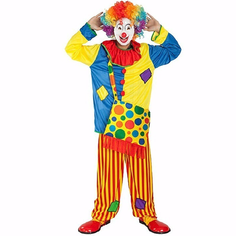 Halloween Cosplay Costume Circus Performance Clown Costume Adult buffoon Masquerade Carnival Family Party Dress Top+Pants+Bag