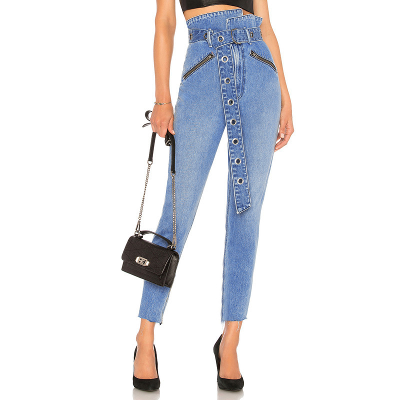 Classic Blue Women Paper Bag Waist  Denim Jeans Push Up Pencil Pants Jeans High Waist With D-ring Belted Metal Zip Front Pockets