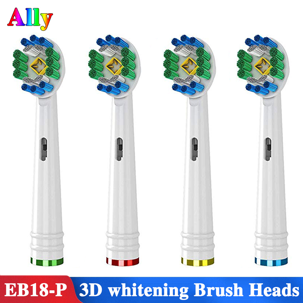 4PCS EB18 For Braun Oral B 3D White Replacement Electric Toothbrush Heads Replacement  Oral B Triumph Vitality IBrush D100 D16