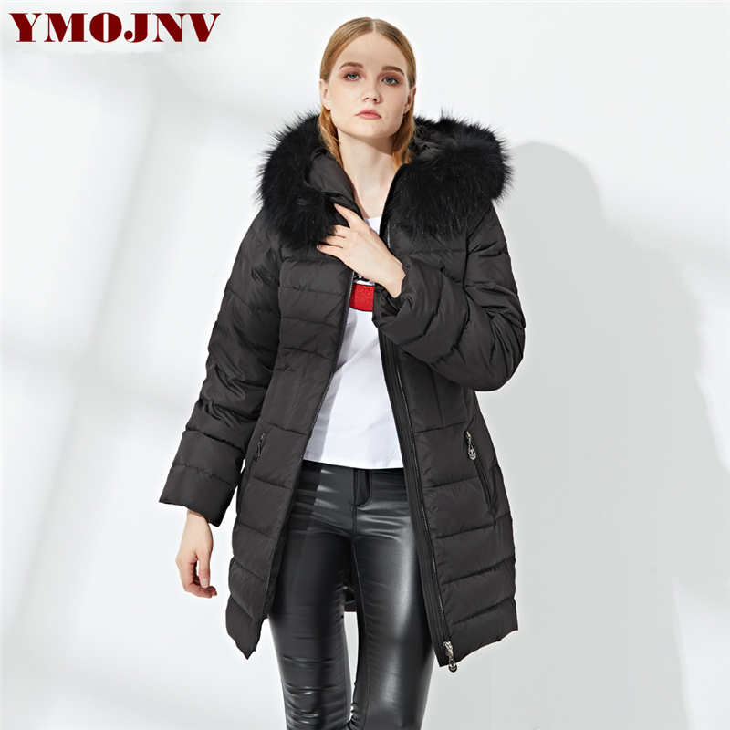 YMOJNV New 2019 Winter Jacket Women Slim Gray Goose   Down     Coat   Female Hooded Thick Puffer Jacket Real Raccoon Fur Collar Parka