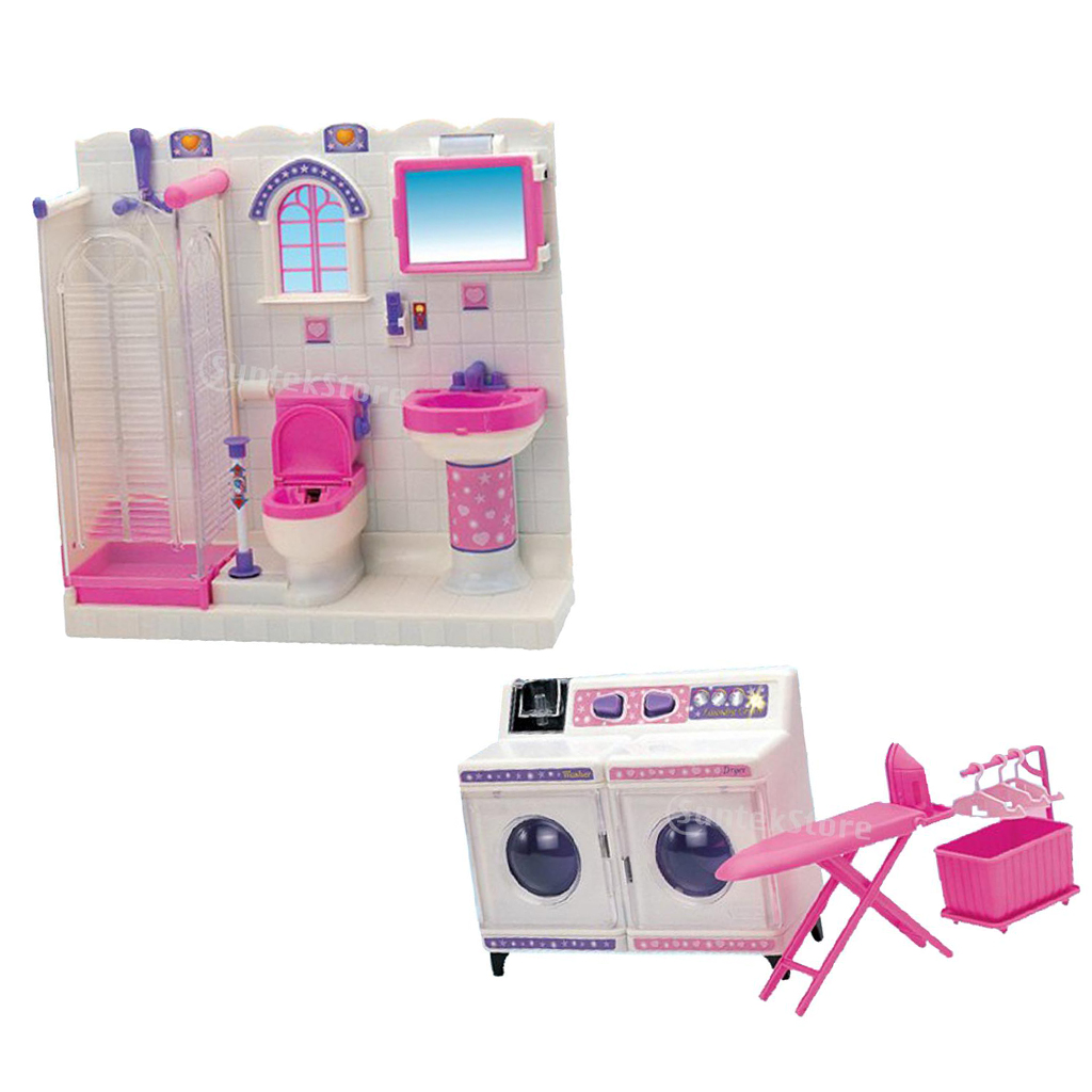 Plastic Bathroom Furniture Toilet Set and Washing Machine for Barbie Doll House Kits new arrival christmas gift play house for children bathroom set furniture for barbie doll