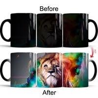 Magic Color Change Coffee Mug High Quality Ceramic Milk Tea Cup and Tumblers Animal Lion Porcelain Mugs Christmas Birthday Gift