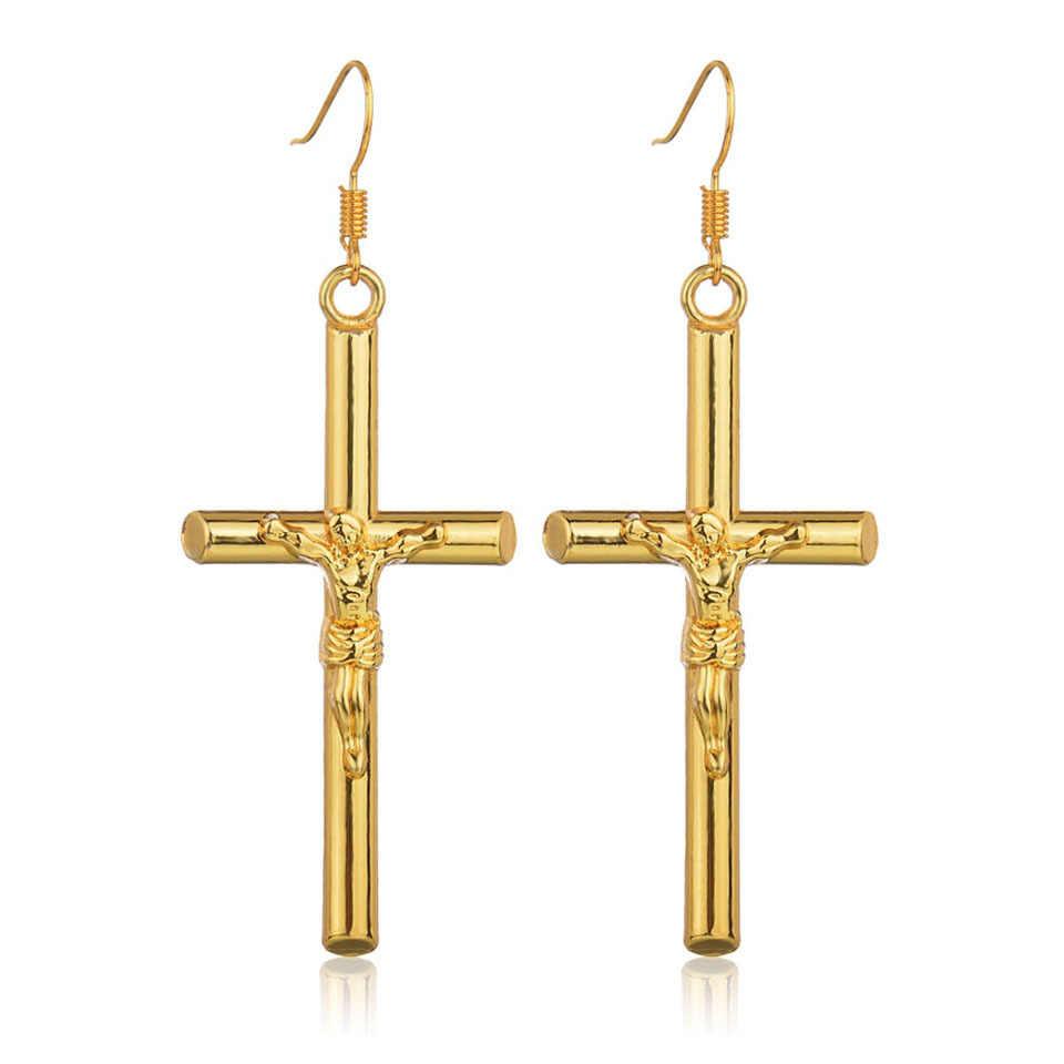 YANGQI Trendy Cross สร้อยคอคู่ทองเงิน Rhinestone CROSS จี้ทองพระเยซูสร้อยคอและจี้ Unisex ของขวัญเครื่องประดับ