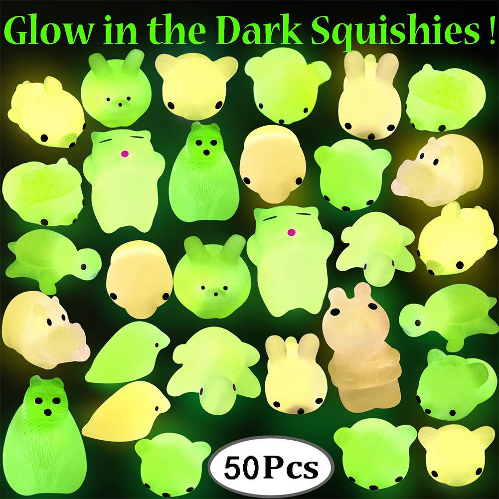 50pcs Fluorescent Squishy Mochi Toy Soft Squeeze Toy Kids Adults Anti Stress Toy Decoration