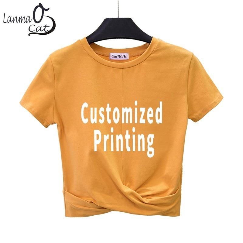 87b4eac8 Lanmaocat T-shirt For Women Black Casual Cross Crop Top Shirts For Girls Customized  Logo