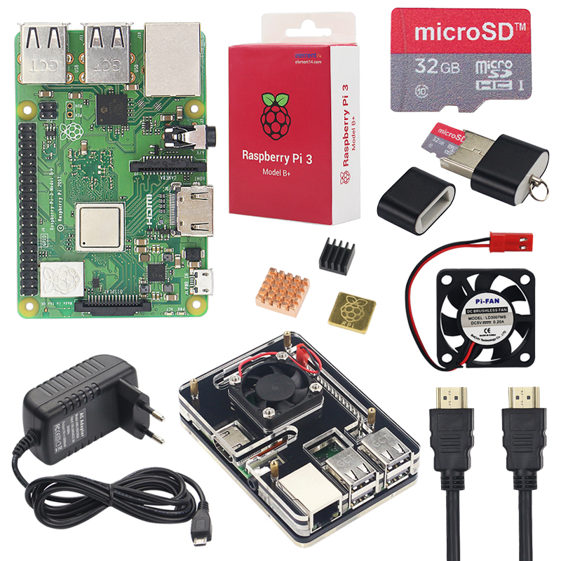 Raspberry Pi three Mannequin B+ Starter Equipment + 6 Layer Acrylic Case + 16 32Gb Sd Card + Warmth Sink + Fan + 3A Energy Adapter + Hdmi Cable