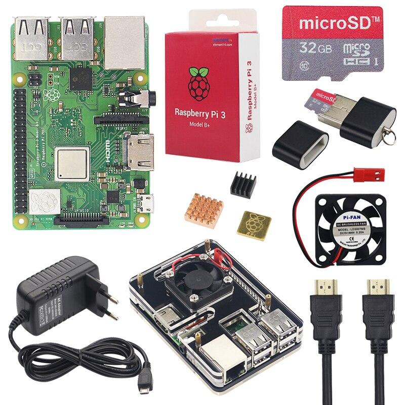 Raspberry Pi 3 Modelo B, modelo B +, Kit de iniciación + 6 capa caso de acrílico + 16 tarjeta SD de 32 GB + disipador de calor + Fan + 3A adaptador de corriente + Cable HDMI