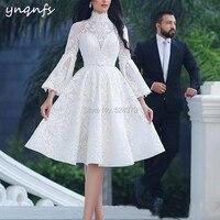 YNQNFS C25 элегантное ниже колена Винтаж кружева abendkleider халат вечер Дубай торжественное платье Вечерние белый мать невесты платья 2019