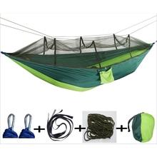 3 характеристики Новое поступление двойная уличная москитная сетка парашют гамак кемпинг подвесная кровать качели портативный