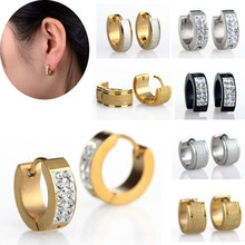 Trendy Men/Women Punk Stainless Steel Crystal Earrings Gold/Silver/Black 316L Hoop EarringsWith Zircon Huggie