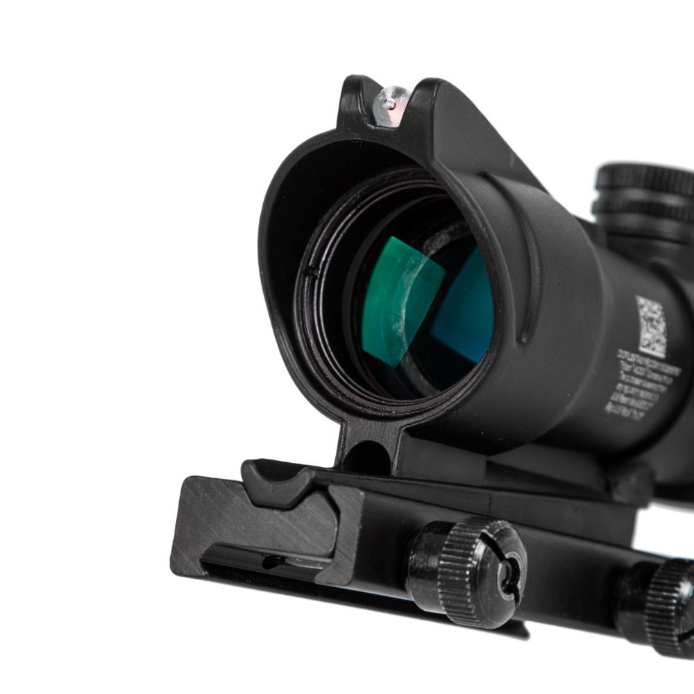 Caza rifloscopio ACOG 4X32 fibra óptica Real punto rojo iluminado Chevron vidrio grabado retícula vista óptica táctica - 5