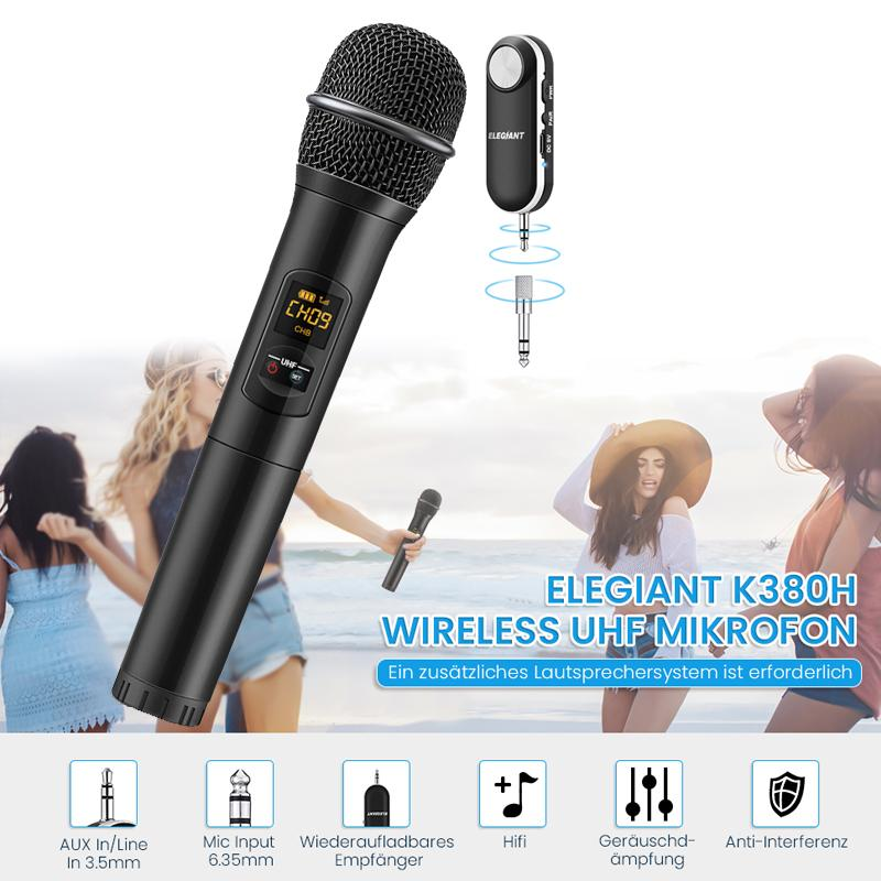 2018 ELEGIANT bluetooth sans fil UHF Microphone Microphone portatif usb rechargeable Récepteur Système Vidéo Karaoké Microphone