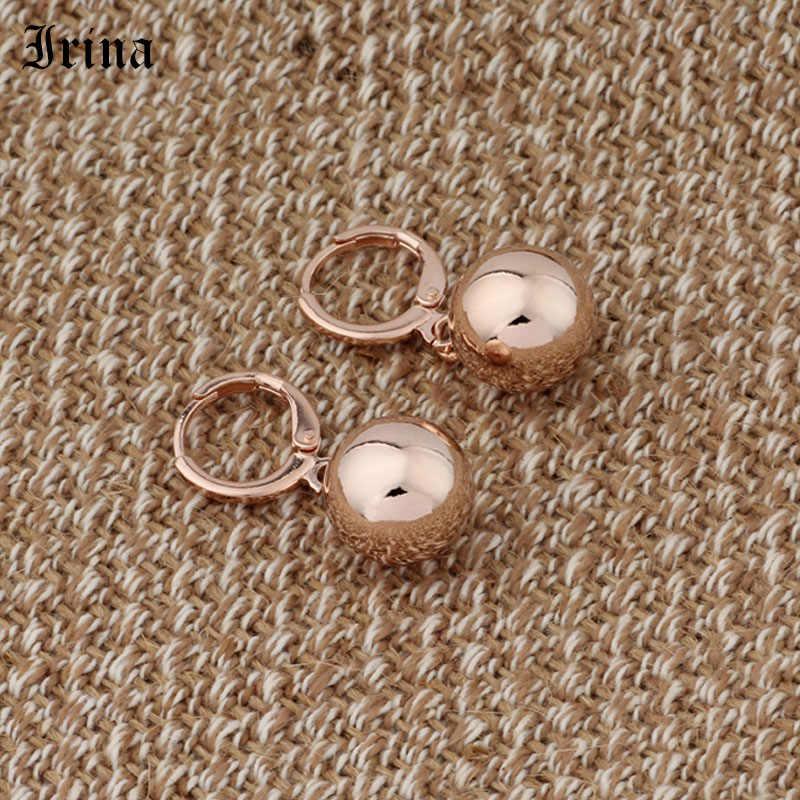 Irina Hàng Mới 585 Rose Gold Hình Cầu Vòng Dangle Earrings Phụ Nữ Wedding Party Đồ Trang Sức Tinh Tế