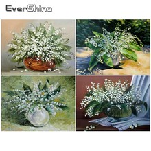 EverShine Diamond Embroidery Full Display Lily Of The Valley Painting Flowers Cross Stitch Mosaic Wall Decor