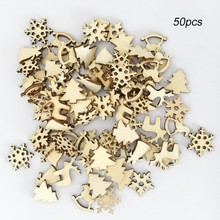 Pack Of 50pcs Mini Wooden Christmas Decorations Ornaments Tree for Merry