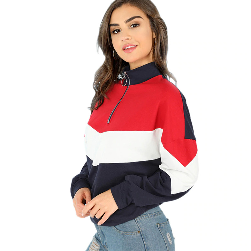 Women Hoodies Multicolor Minimalist O-Ring Zip Front Cut Sew Stand Neck Raglan Sleeve Sweatshirt Autumn Women Casual Pullovers