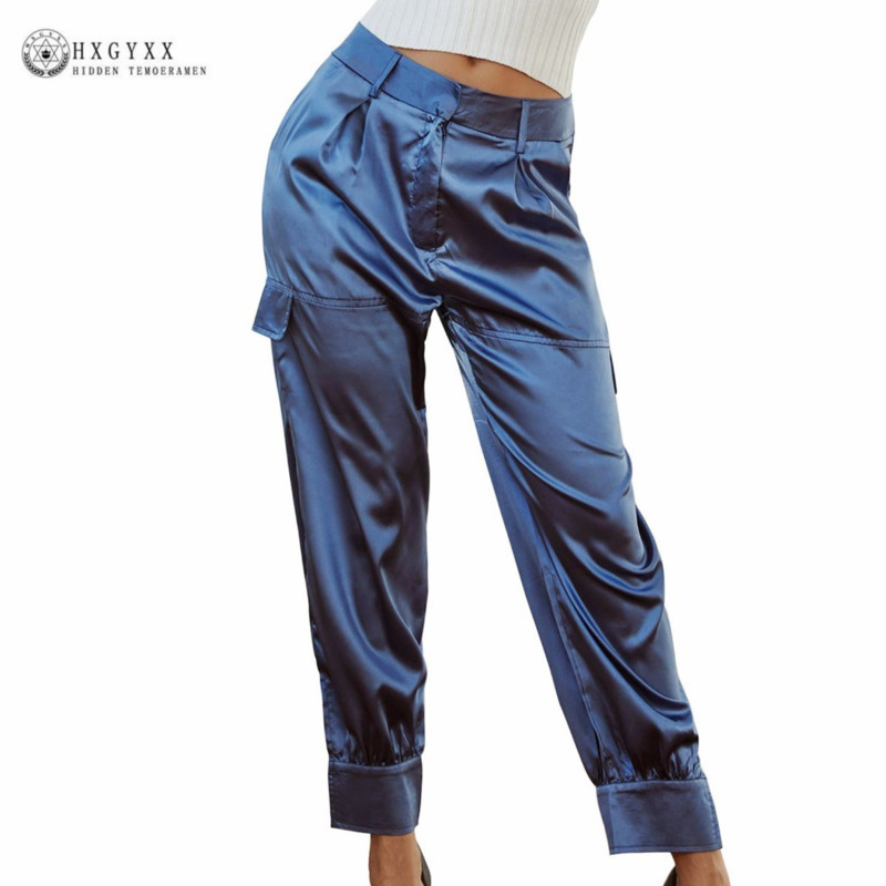 Mid Waist Straight   Pant     Capris   Casual Satin Crop Trousers Women 2019 Spring Summer High Street Clothes Harajuku   Pants   Okd856
