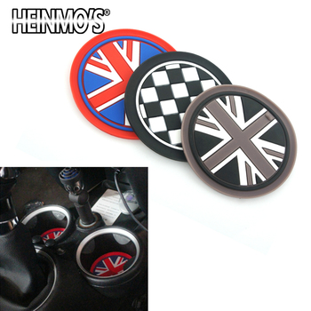 For MINI Cooper S One Clubman Countryman R50 R53 R55 R56 R60 Car Sticker Accessories Water Cup Holder Mat For MINI F56 F54 F60 2pcs set door rear view mirrors cover case sticker decal car styling for mini cooper one s r50 r52 r53 2002 2006 accessories