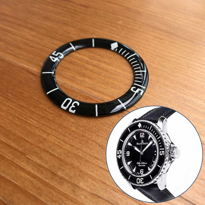 Luminous glass black watch bezel inserts for Blancpain Fifty Fathoms 45mm automatic men's watch parts tools