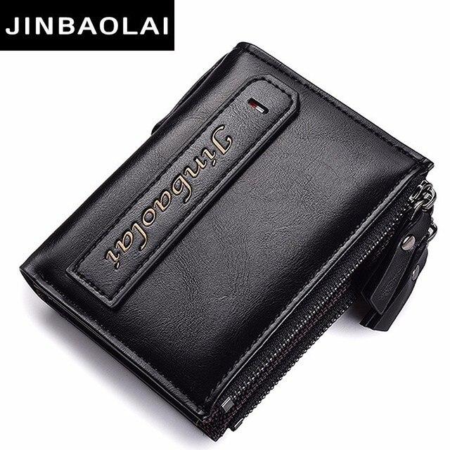 Artificial Leather Men Wallet Coin Pocket Wallet Zipper Portfolio Handy Luxury Short Wallet Bifold Male Purse Card Holder Wallet