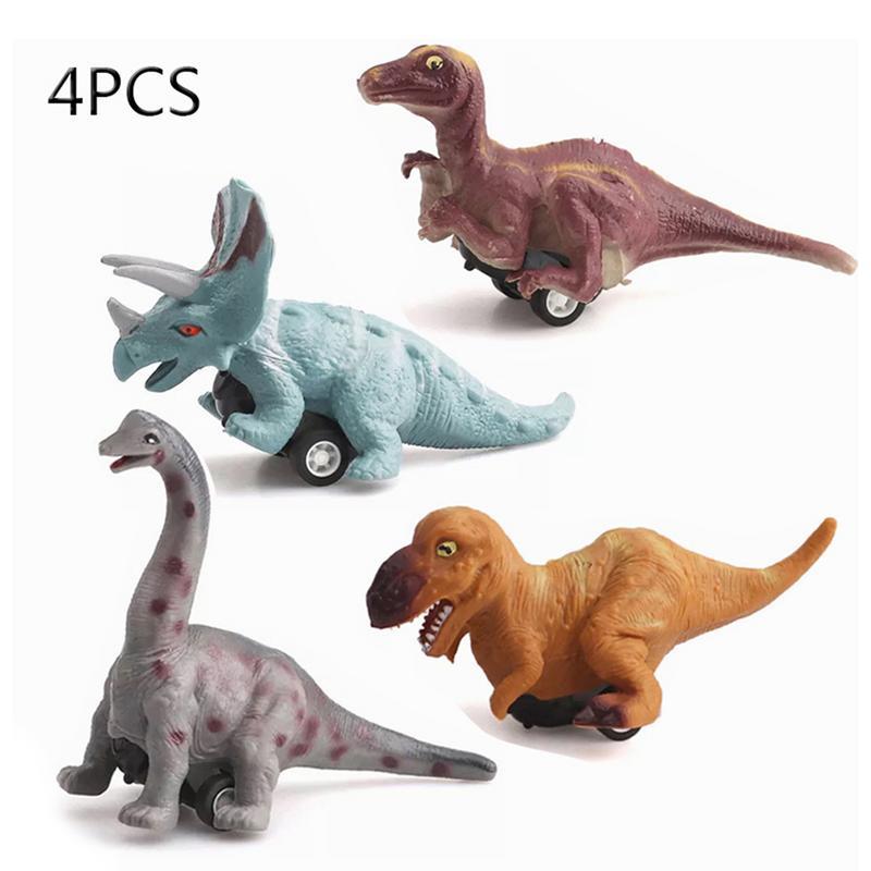 Dinosaurus Model Pull Back Auto Speelgoed Tyrannosaurus Rex Triceratops Brachiosaurus Maiasaura 4 Pack Dinosaurus Speelgoed Pull Back Voertuig