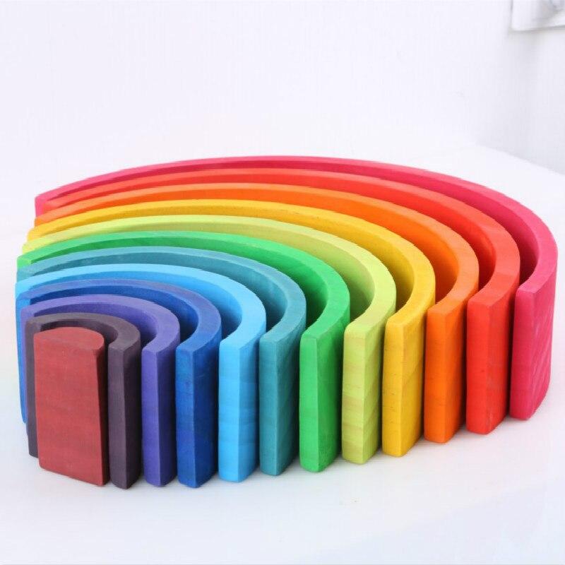12 Pcs Rainbow Stapelen Blokken Speelgoed Jenga Houten Educatief Speelgoed Voor Kinderen Boogbrug Thuis Decoratio Ornamenten