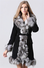 IANLAN Classic Winter Real Leather Coats for Women Fashion Fur Parka with Piece of Silver Fox Collar & Cuff Brim IL00003