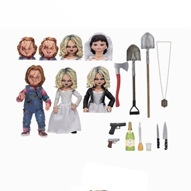 Sposa Di Ultima Original Neca Chucky E Tiffany Presente Estatueta Toy Boneca Coleção Modelo Toy Boneca Brinquedos Figurals