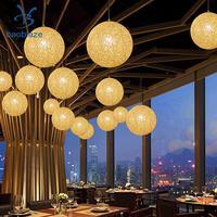 2 Pcs Rattan Wicker Woven Ball Chandelier Pendant Light Lamp Shade 20cm Beige+Coffee