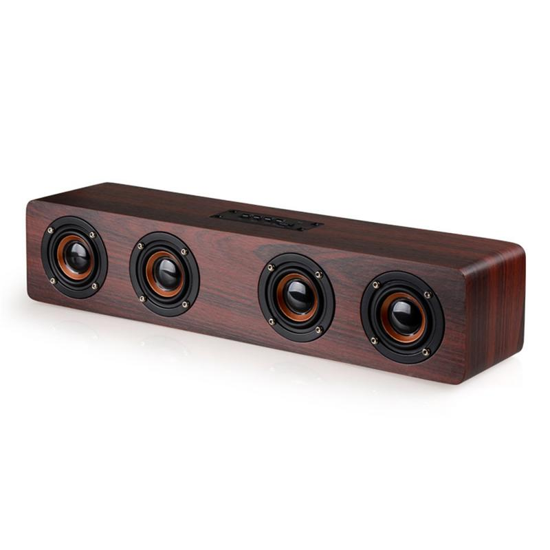 Retro Wooden Bluetooth 4.2 Speaker Subwoofer Stereo Bass Sound Bar 4 HiFi TF Card AUX Portable Loudspeakers For TV Home Theater Retro Wooden Bluetooth 4.2 Speaker Subwoofer Stereo Bass Sound Bar 4 HiFi TF Card AUX Portable Loudspeakers For TV Home Theater
