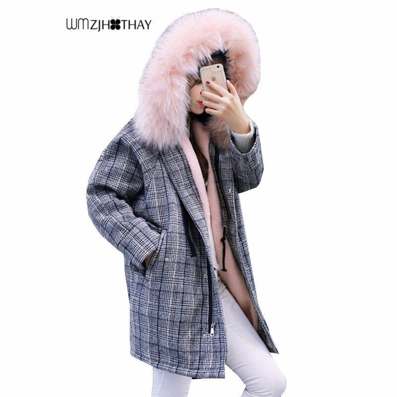 Femmes Veste Survêtement D'hiver Col pink Parker Plaid Épais
