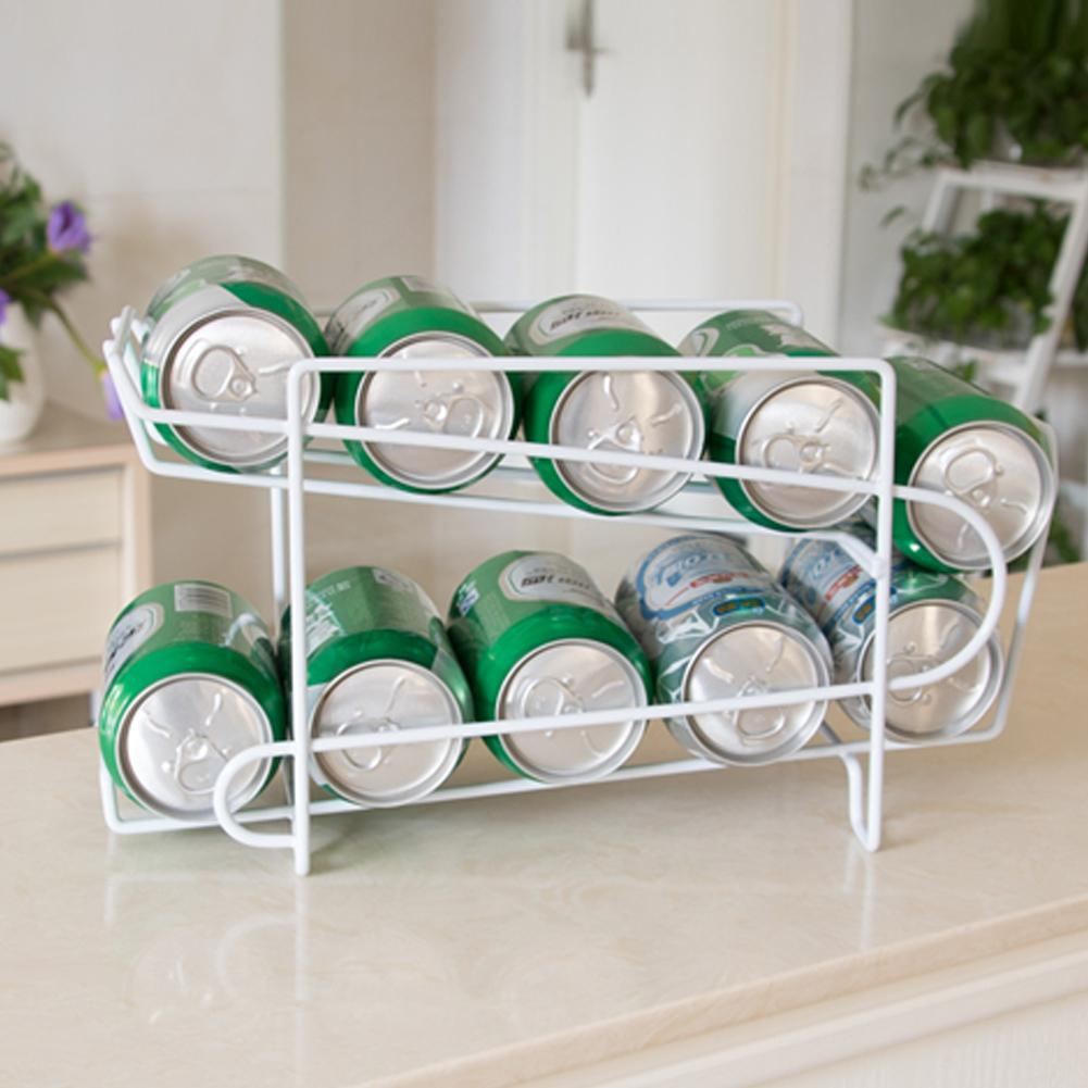 Double-Layer Desktop Cans Soda Storage Rack Shelf Organizer Kitchen Holder Tool Wall Mounted Kitchen Racks New