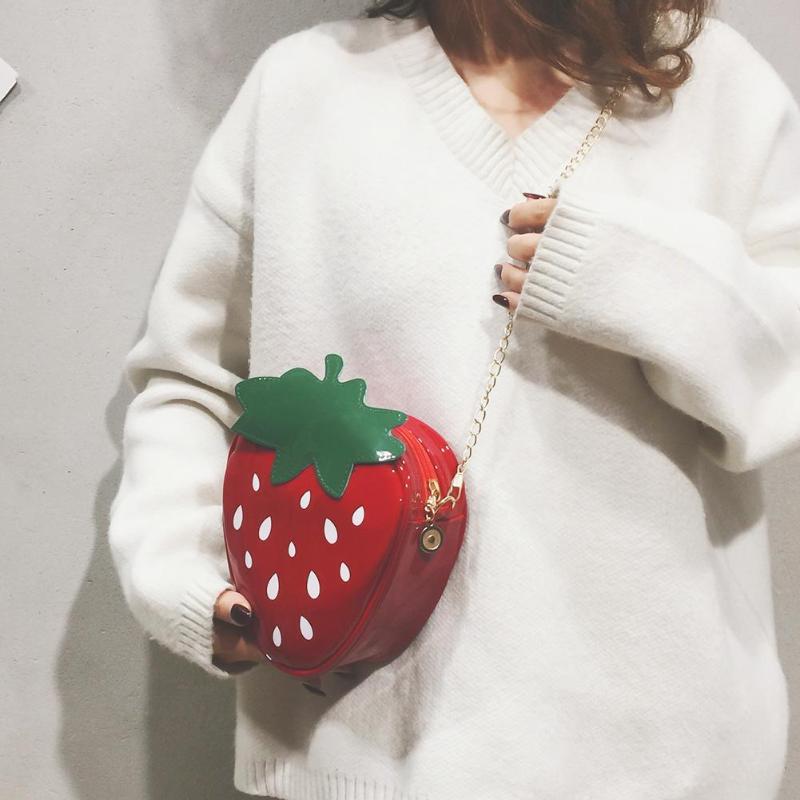 Creative Strawberry Chain Bag High Quality PU Leather Women Girls Chic Chain Messenger Shoulder BagsCreative Strawberry Chain Bag High Quality PU Leather Women Girls Chic Chain Messenger Shoulder Bags