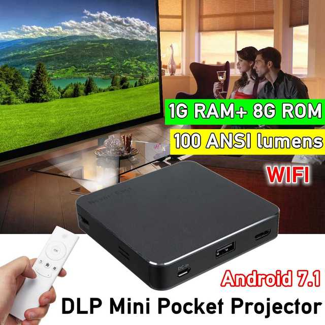 New Price 4K/8GB HD Bluetooth Home Projector Home Theatre System Office Wifi DLP Mini P ocket Projector Android 7.1/4.0