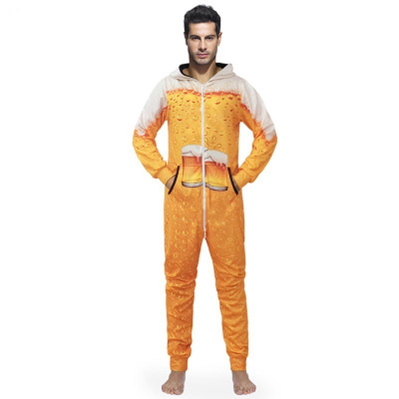 Warme Autumn Winter Hooded Jumpsuit Pajamas For Men Funny Beer Pattern Print Sleep Suit Onesie For Adults Hot Sale