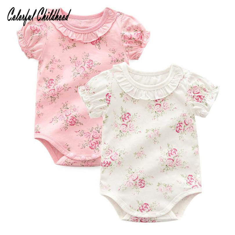 Adorable floral lace romper baby girls short sleeve jumpsuit summer cotton newborn body clothes infant bebe onesies(China)