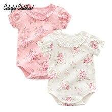 Восхитительный кружевной комбинезон с цветочным рисунком; комбинезон с короткими рукавами для маленьких девочек; летнее хлопковое боди для новорожденных; Одежда для младенцев; bebe; комбинезоны