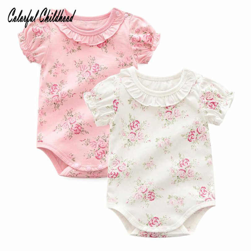 Adorable floral lace romper baby girls short sleeve jumpsuit summer cotton newborn body clothes infant bebe onesies