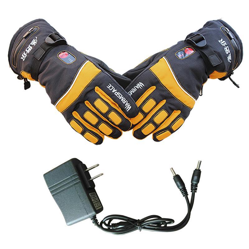 Nouveaux gants de chaleur électriques de sport étanche gant de Ski contrôle de température batterie au Lithium Rechargeable 5 doigts et dos de la main chauffé