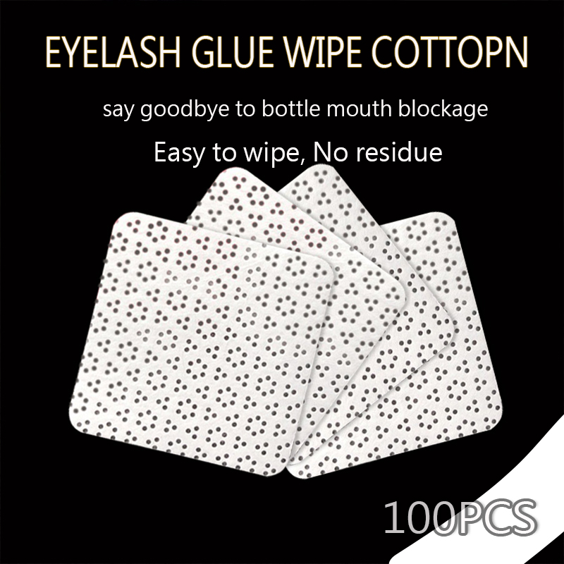 100PCS Eyelash glue wiper glue bottle mouth clean cotton pad for eyelash extension glue high quality non woven fabric in Eyelash Glue from Beauty Health
