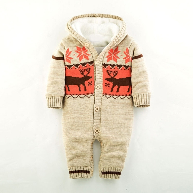 c77d902165d4e US $23.72 33% OFF|Baby Warm Thick Winter Knitted Sweater Rompers Newborn  Boys Girls Jumpsuit Climbing Clothes Christmas Deer Hooded Outwear-in  Rompers ...